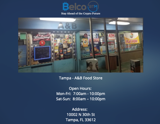 Cryptocurrency ATM's throughout Florida locations